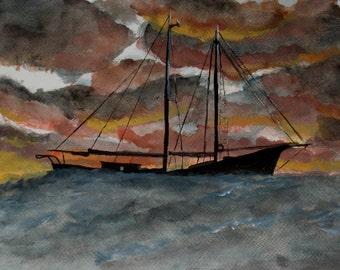 Trawler at Dusk original watercolor painting Sea painting