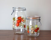 ON SALE  Vintage Pair of Retro Glass Canisters