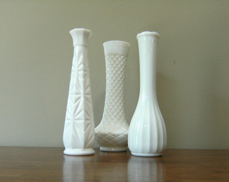 trio of large milk glass bud vases. Black Bedroom Furniture Sets. Home Design Ideas
