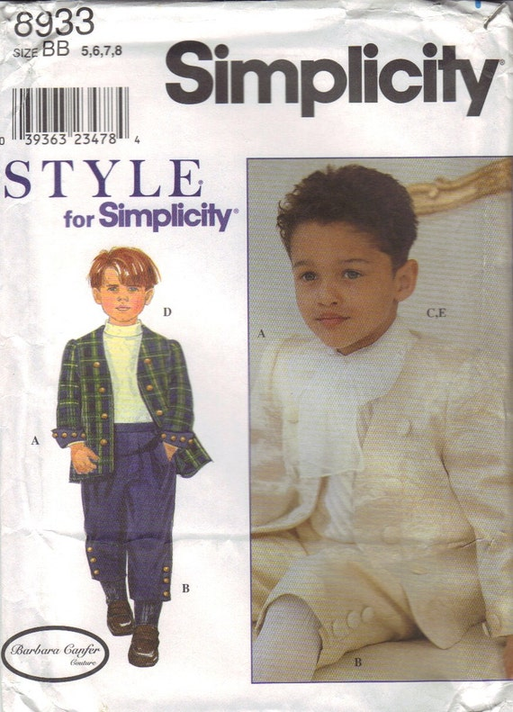 Simplicity Boys Jacket, Pants, Shirt,and Scarf Pattern Size 5-6-7-8