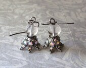 Crystal Ball Earrings with Crystal Accents
