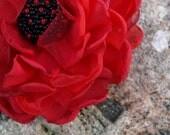 Red Poppy Flower Brooch or Hair Clip