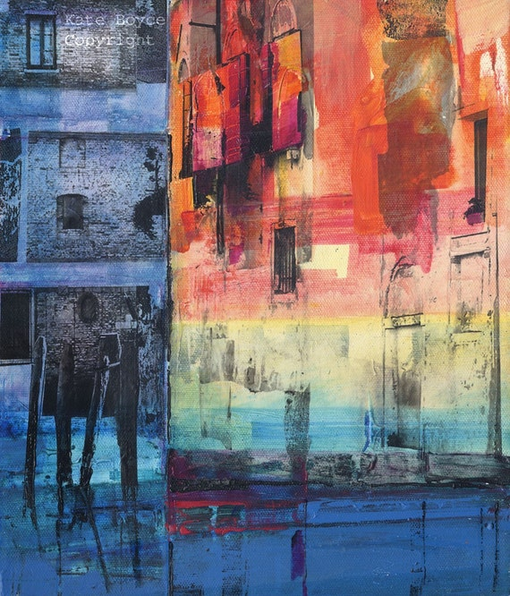 A Quiet Junction, Venice. Mixed media Original Painting on Canvas.