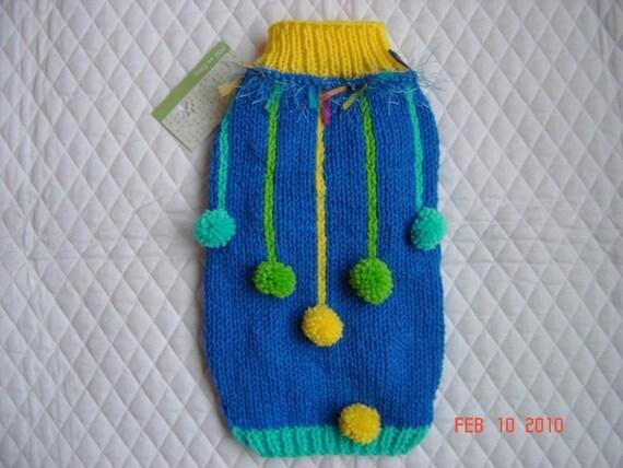 Dog Sweater Coat - MEDIUM  - Hanging Pom Poms