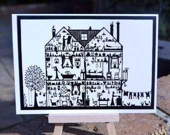 Cross Section House papercut - greetings card