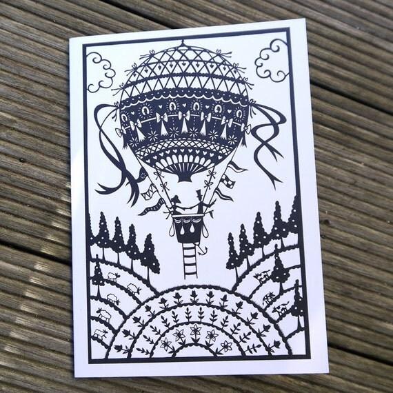 Balloon Ride papercut - card