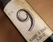Table Number Wine Label.....Vintage Brown