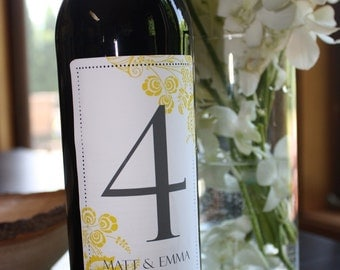 Table Number Wine labels...choose your colors...Floral