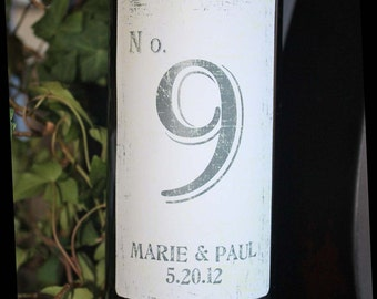 Table Number Wine Labels....Choose your Colors...Vintage