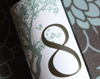 Wine Label Table Number....Choose your Colors... Elegant Tree