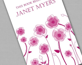 Personalized Bookplates....24qty...Choose your color... Flower Patch