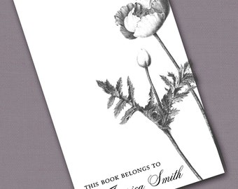 Personalized Bookplates....24qty...Choose your color... Poppy