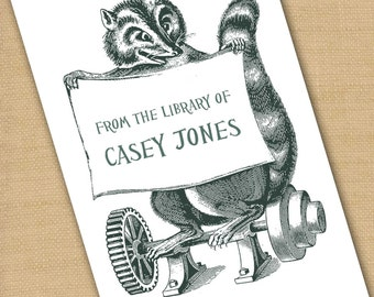 Personalized Bookplates....24qty...Choose your color...Racoon