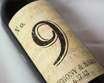 Personalized Table Number Wine Labels ...Vintage Brown Music Notes