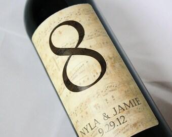Table Number Wine Label....Vintage Brown Music Notes