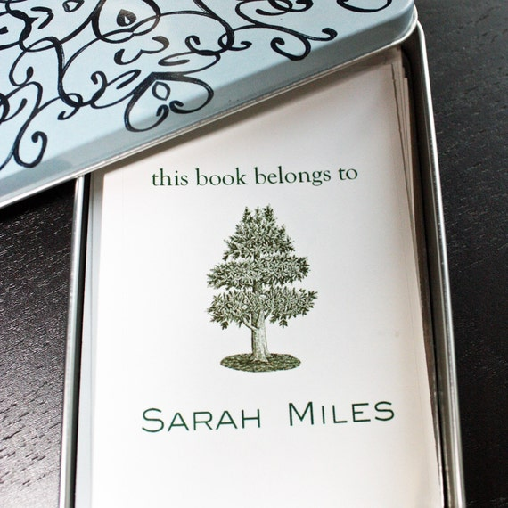 Customized Bookplates with Tin Choose your color, text and Floral