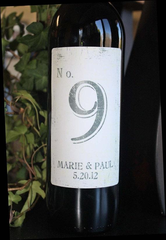 Table Number Wine Labels....Vintage Grey