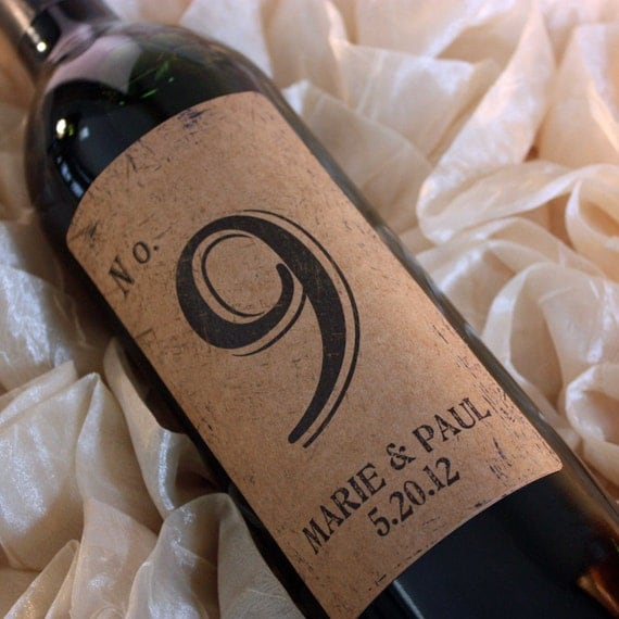 Wine Label Table Numbers 1-17 Reserved for April....Choose your Colors... Kraft Vintage