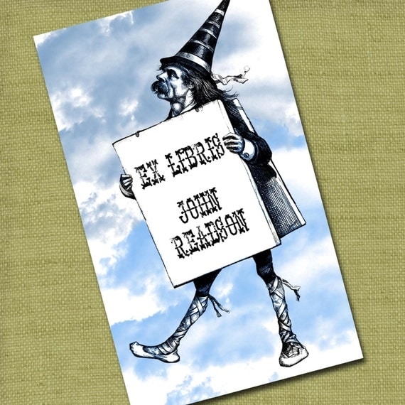 Personalized Bookplates....24qty...Choose your color... Man in the Clouds
