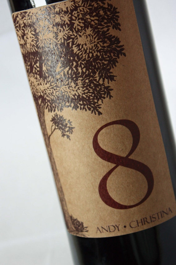 Wine Label Table Numbers ...Choose your Colors... Kraft Tree