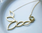 Gold Teardrop Lotus Necklace with Gemstone