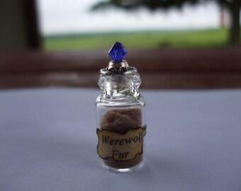 Gothic Witch Werewolf fur spell bottle dollhouse miniature