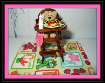 dollhouse miniature Baby highchair Spaghetti and meatballs Can be custom made too