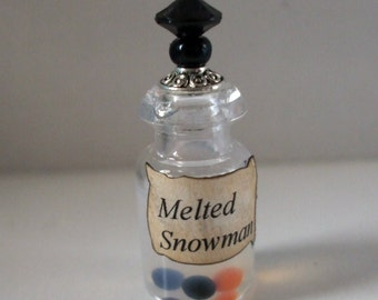 Gothic Witch Melted Snowman spell bottle dollhouse miniature Christmas holiday