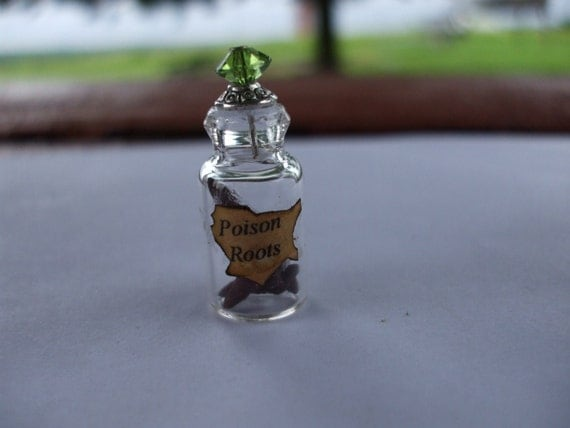 Gothic Witch spell bottle dollhouse miniature poison roots