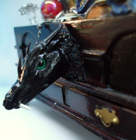 Gothic Witch Wizard Dragon hope chest dollhouse miniature ooak