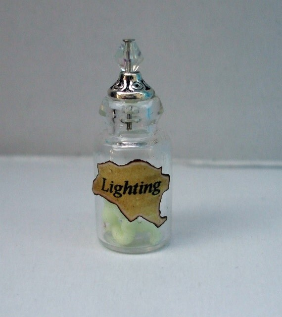 Gothic Witch Spell bottle dollhouse miniature Halloween Lighting bolts glow in dark