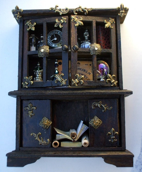 Gothic Witch spell hutch dollhouse miniature  ooak fairy hutch
