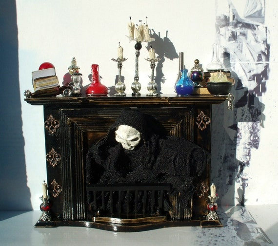 Gothic Witch spell fireplace dollhouse miniature ooak Visit