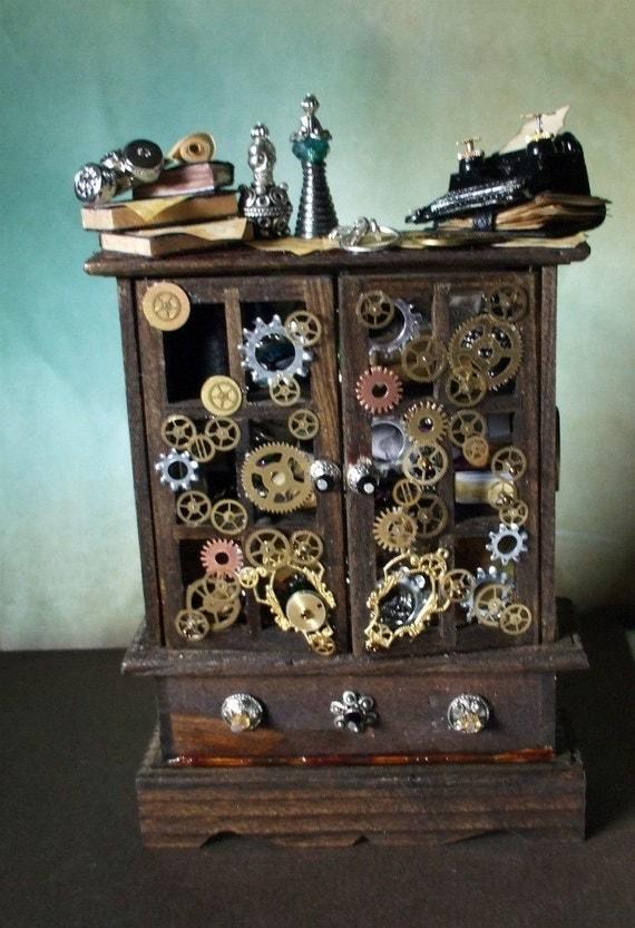 Gothic Witch spell hutch dollhouse miniature hutch ooak TimeKeeper Hutch steampunk
