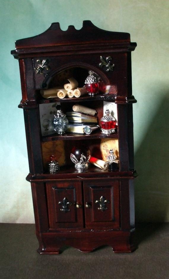 Reserved KittyvonPretty Gothic Witch Wizard Halloween dollhouse miniatures corner cabinet   bookcase ooak