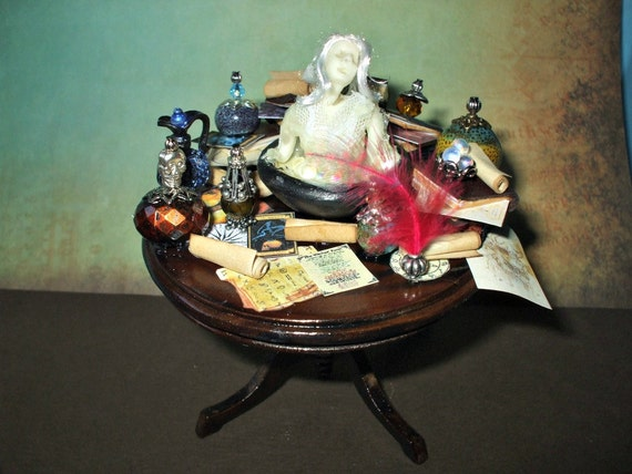 witch gothic spell table dollhouse miniature halloween ooak glows in dark ghost