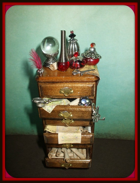 witch gothic spell dresser cabinet  dollhouse miniature halloween ooak