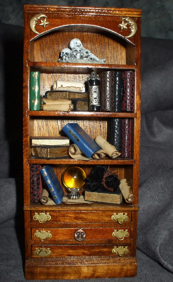 Gothic Witch Haunted Spooky Bookcase Dresser Dollhouse