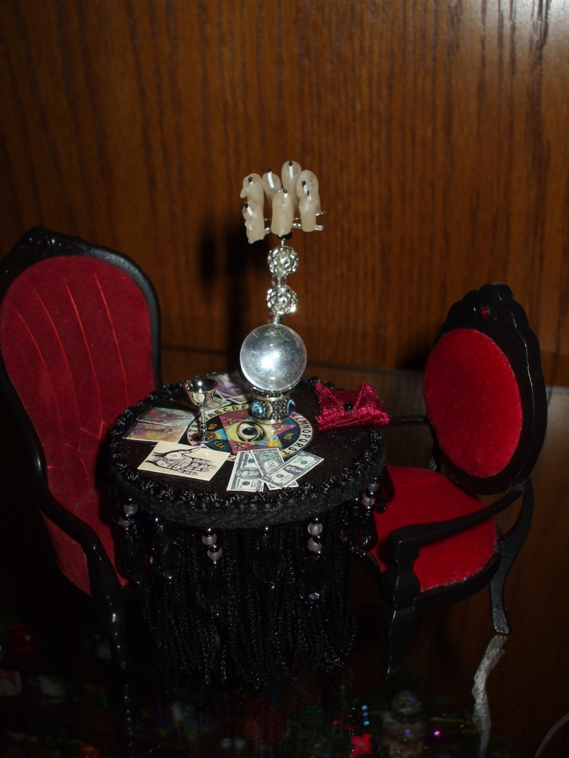 Custom All Stars >> Gothic Witch Fortune telling table dollhouse miniature ooak