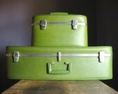RESERVED .. Large Vintage Suitcase .. Avocado Green