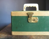 RESERVED .. Vintage Train Case .. Pine Green and Camel