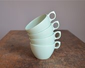 RESERVED .. Vintage 1950s Mint Green Melamine Tea Cups .. Prolon Ware