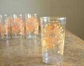 Vintage Tangerine Atomic Starburst Tumblers .. Set of 4