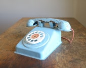 Vintage 1950s Baby Blue Toy Telephone .. Steel Stamping Co.