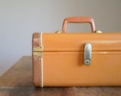 Vintage Train Case .. Two Tone Chocolate and Caramel Brown