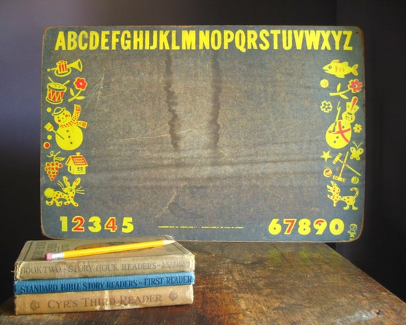 Vintage Chalkboard .. Alphabet, Numbers and Illustrations
