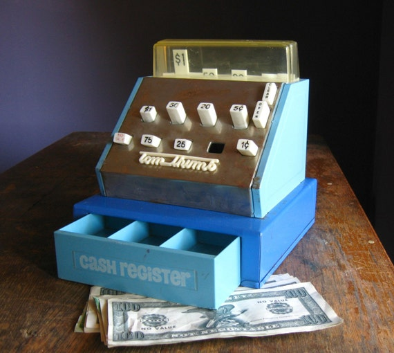 Vintage 1980s Blue Tom Thumb Toy Cash Register By Thefancylamb