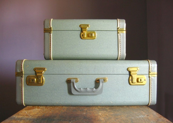Vintage Steel Blue Suitcase and Train Case