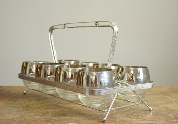 Vintage Silver Ombre Roly Poly Glasses .. Set of 8 with Caddy