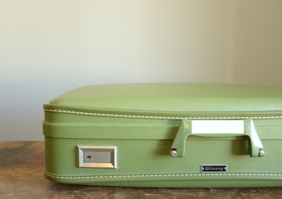 Vintage Wheary Hard-Sided Suitcase .. Avocado Green